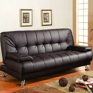 Coaster-Faux-Leather-Tufted-Sleeper-Sofa-in-Brown