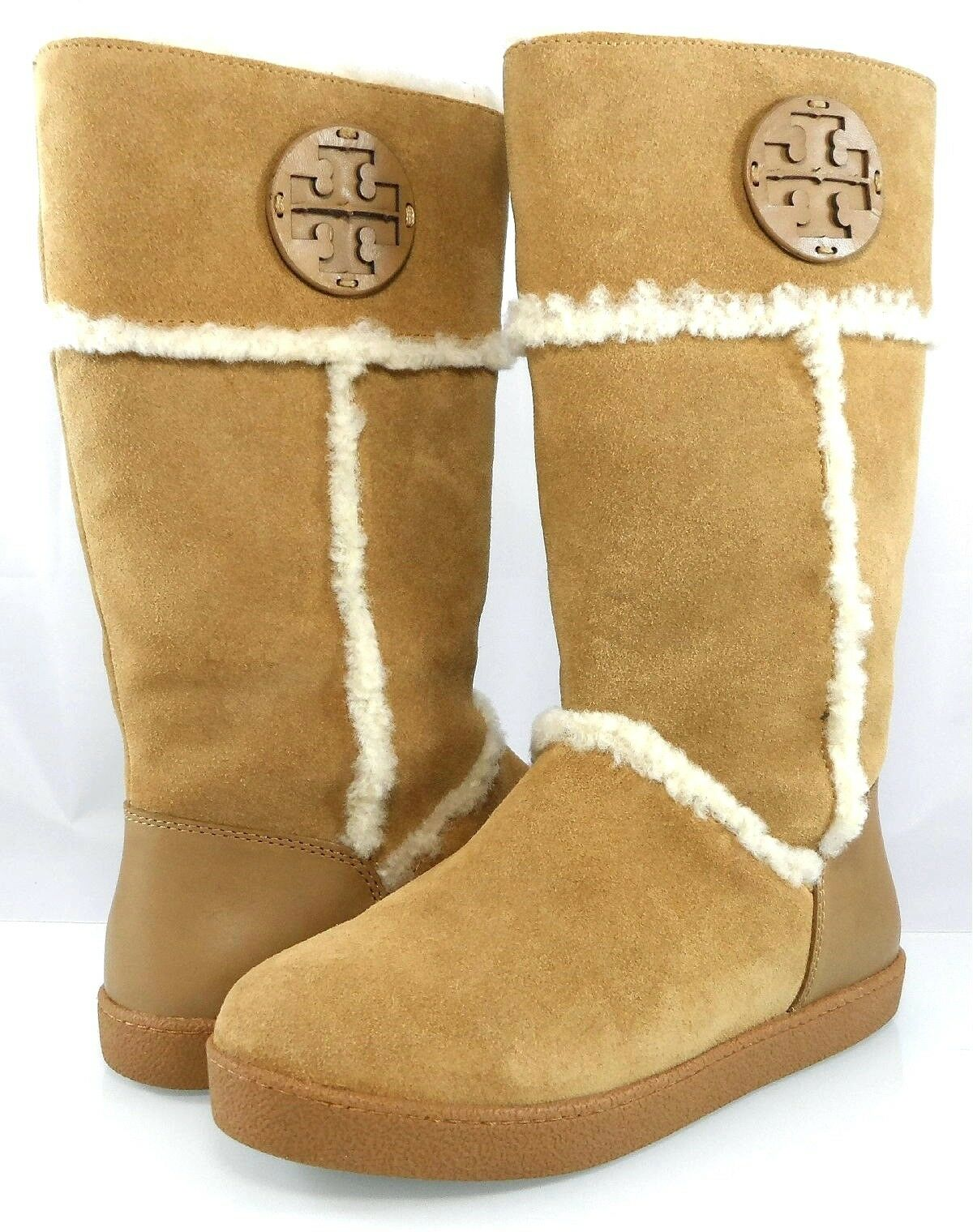 345 TORY BURCH AMELIE SHEARLING BOOTS  PULL ON FLAT WEDGE WARM Women's 6 36