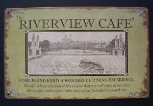 Riverview-Cafe-Tin-Sign-Ohio-Mississippi-River-Boat-Nautical-Home-Decor-10-034-x-16-034