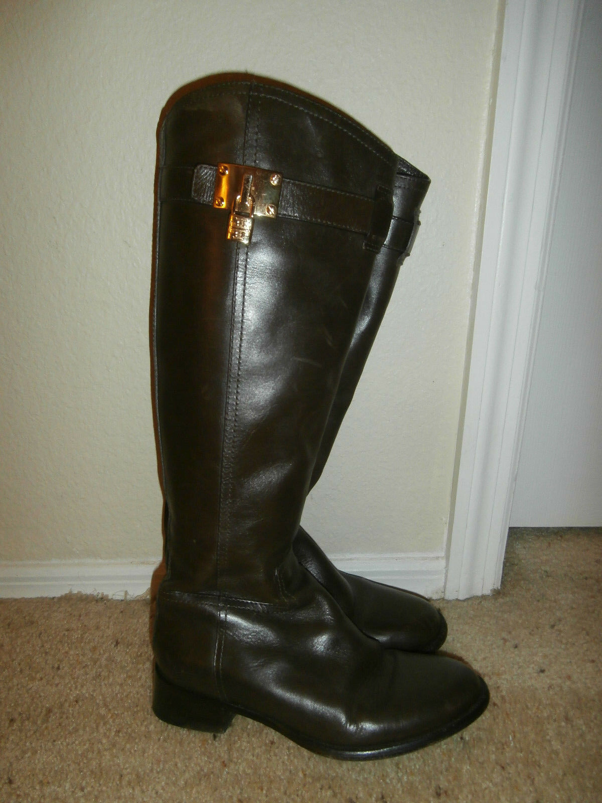 Tory Burch Riding Boots Brown Leather SZ 6.5  MINT  LIAM BOOT & NEW TB DUST BAG