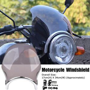 Motorrad-Windschutzscheibe-Windschild-Fuer-Suzuki-Yamaha-Honda-Rund-Scheinwerfer