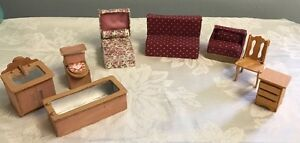 Details about Vintage homemade dollhouse furniture lot Bed Bathroom Living  room Mixed Lot