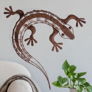 Détails sur Jardin Mur Décoration Gecko Métal Rouille Optique Terrasse Beet  Maison Façade