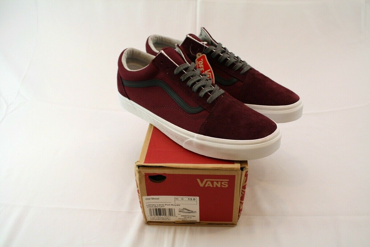 Mens Vans Old Skool Maroon Jersey Lace Port Royale Size 13 NEW NWB