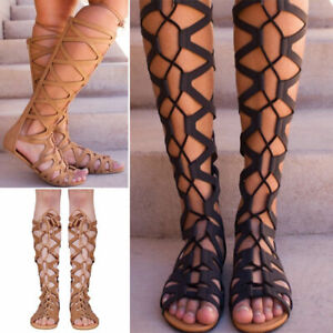 Womens-Knee-High-Cut-Out-Lace-Tie-Up-Flat-Gladiator-Summer-Sandals-Shoes-UK-Size