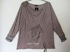 JEAN MARC PHILIPPE %%% Traum Long Shirt Lagenlook taupe Crash/Leder T8 52-54