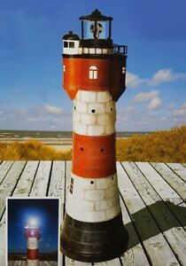 SOLAR-Leuchtturm-034-Roter-Sand-034-Hoehe-78cm-mit-LED-Gartendeko-Neu