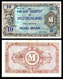 Germany-WWII-Allied-Military-Currency-10-Mark-1944