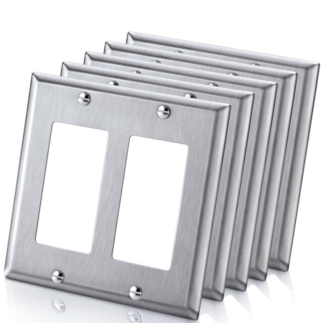 10pk Decorator Brushed Stainless Steel Wall Plate Double Gang Metal
