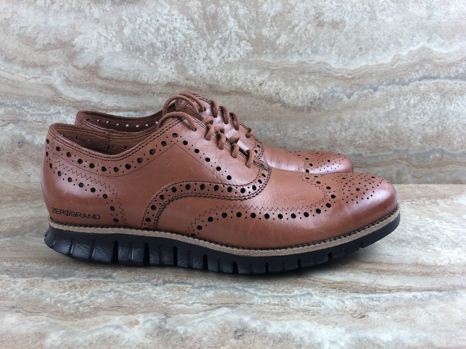Cole Haan Zerogrand Wingtip Oxford Leather Dress shoes British Tan