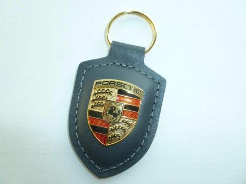Genuine Porsche Grey Leather Colour Crested Keyring Keyfob Key Ring WAP050097OH