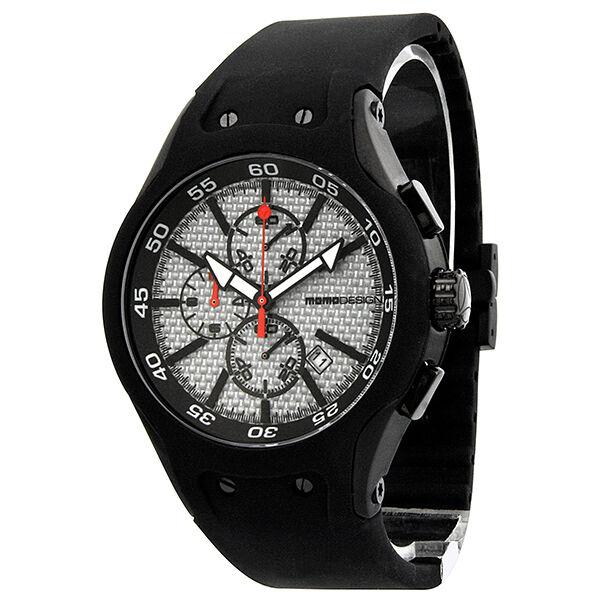 Momo Design Vanguard Carbon Fiber White Dial Black Rubber Mens Watch