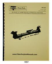 Delta Rockwell 28 105 10 Wood Lathe Instruction Amp Parts List Manual 1957