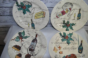 William-Sonoma-Holiday-Christmas-Party-Earthenware-Dessert-Plates-Set-of-4