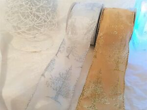 Eleganza-Christmas-TREE-glitter-Gold-or-White-Wire-edge-sheer-Ribbon-63mm