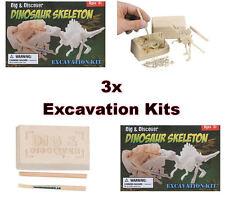 3x Mini Dinosaur Dig Kits - Educational Toy Excavation Site Science Set - New