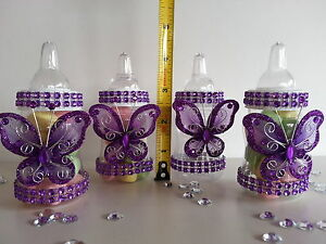 Image Is Loading 12 Purple Fillable Butterfly Bottles Baby Shower Favors
