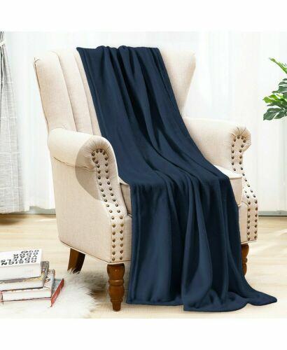 $40 New Bon Voyage Travel Plush Velvet Throw Blanket Navy Blue