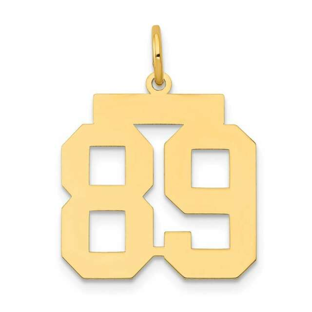 14k Yellow Gold Medium Polished Number 89 Charm Lm89