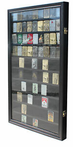 Large-90-Sport-Zippo-Lighter-Display-Case-Wall-Cabinet-Shadow-Box-LC06-BLA