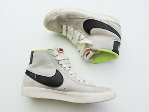 Women-039-s-Nike-High-Top-Leather-Gray-Black-amp-Neon-Green-Shoes-Size-5