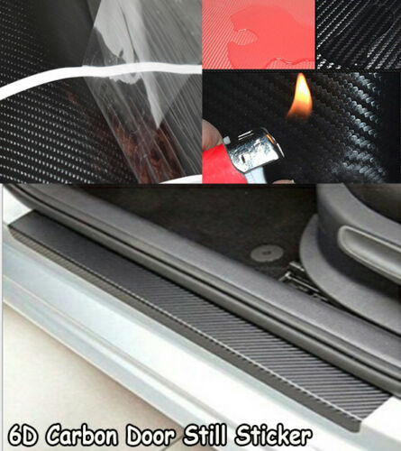 4x 6D Stickers Carbon Fiber Vinyl Decal Car Door Sill Step Scratch Protect AHM J