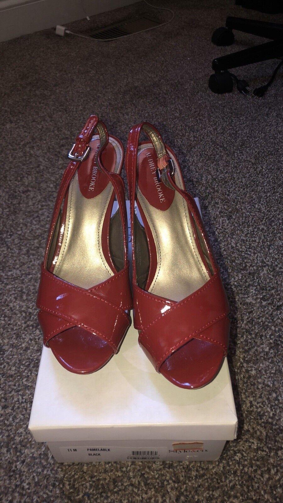 Audrey Brooke dark red open toe cork heel sling Back 9.5M USA