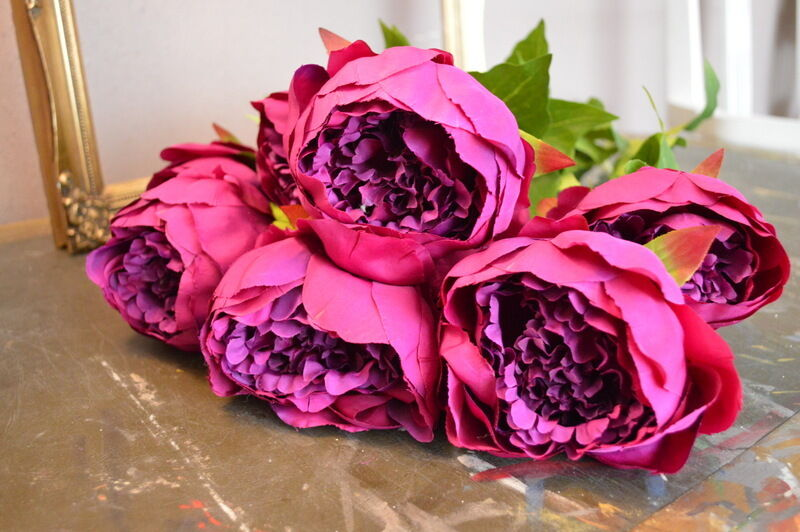 Bunch of 8 Large Faux lila Peonies, Artificial Luxury Realistic Silk Flowers