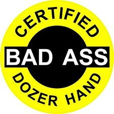 """Helmet Stickers H727 Red Certified Bad Ass Rig Up Hand 2"""" Hard Hat 3"""