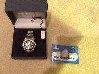 W/box Festina Mens Watch Date Time Month Seconds 12/24 Hour Blue Face