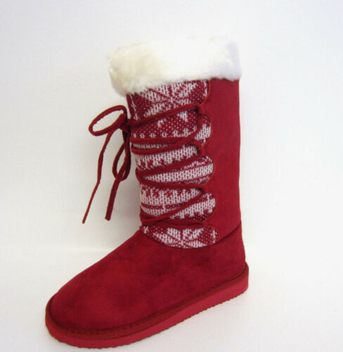R8A Ladies Spot On F4R194 Red Fleece Lined Calf Boot
