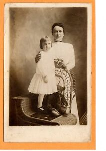 Studio Real Photo Postcard Rppc Mother Amp Girl With Teddy