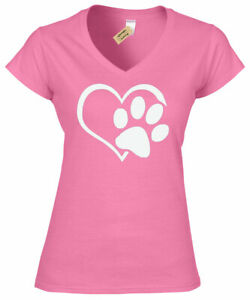 Femme-Paw-Print-C-ur-T-SHIRT-Pour-Chien-Chat-Animal-Lovers-Femmes-V-Neck-T-Shirt