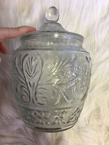 Vintage-Cookie-Jar-With-Lid-Clear-Cut-Glass-Deco-With-Etching-Great-Shape
