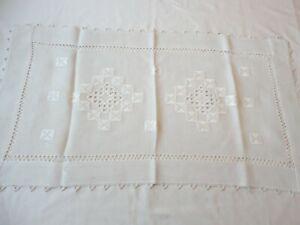 Doily Dresser Scarf Runner Vintage 1940's Open Weave Cut Work w/ Crochet Edge