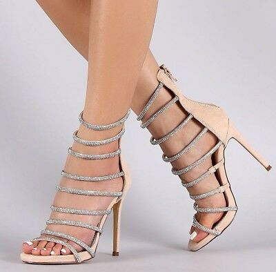 Holographic Iridescent Strappy Caged Open Toe Gladiator Bootie Heels US 6-10