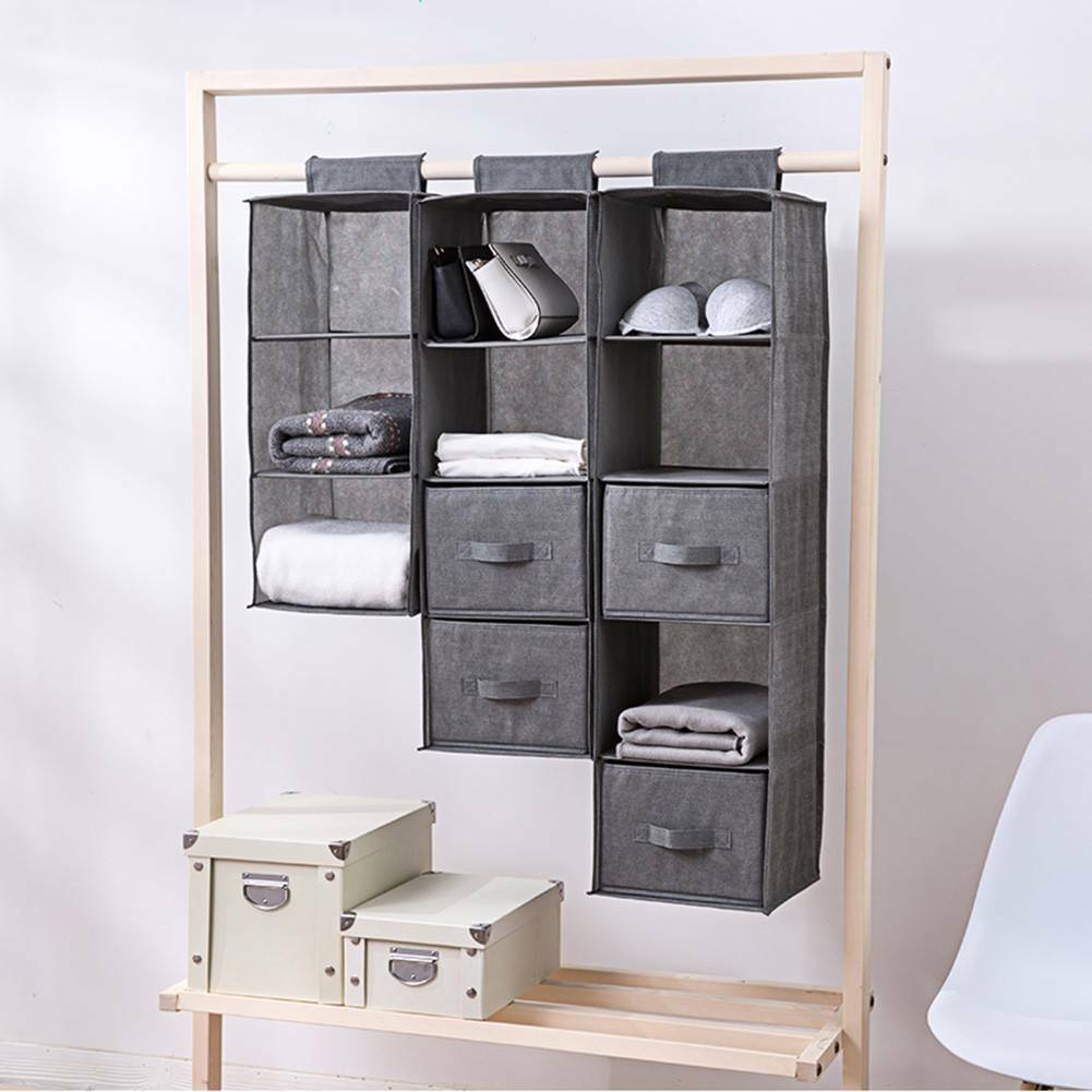 4//5 Section Shelves Hanging Wardrobe Shoe Garment Organizer Storage Clothes tidy