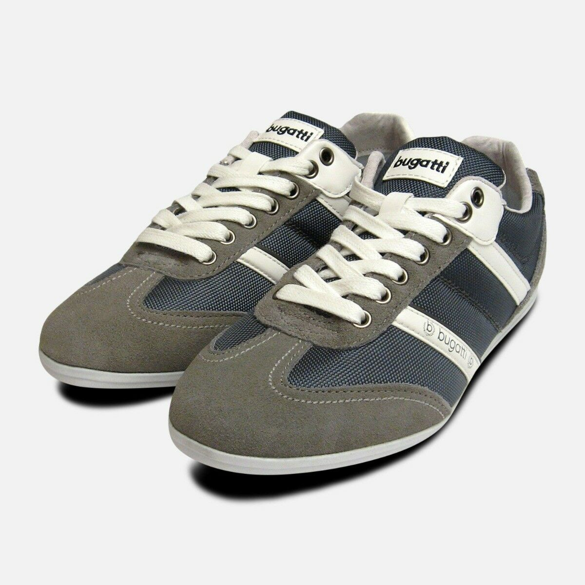 Mens Bugatti Turnschuhe in grau Suede Leather Designer Trainers