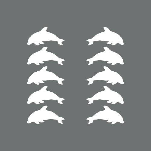 10 Aufkleber 4cm weiß Delphin Tümmler Tattoo Decal Deko Folie Klebefolie