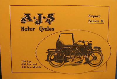 4.98 h.p 3.49 h.p 1927 AJS  Motor Cycles Sales Manual Export Series H 7.99 h.p