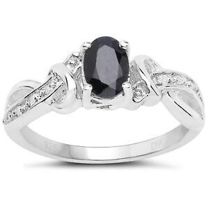 Sterlingsilber Oval Saphir Diamant Verlobungsring Diamant Schulter
