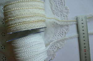 LACE-with-PEARL-CENTRE-2-Metre-Lengths-Ivory-20mm-or-White-11mm-Choice-ARD5