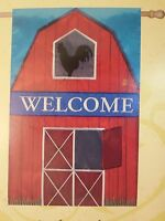 welcome Big Red Barn With Rooster In The Hay Loft On Farm Applique House Flag