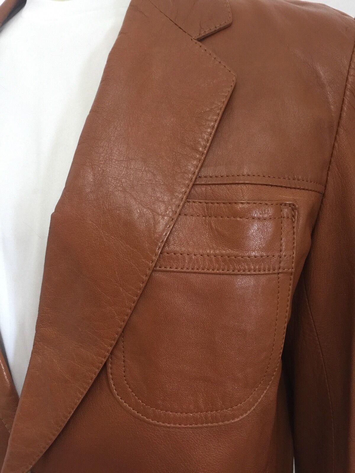 Vintage 1970's Mens Brown Hipster Soft Leather Bl… - image 3
