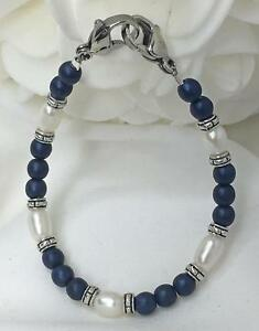 Navy-Blue-White-Pearl-Silver-Medical-ID-Alert-Replacement-Bracelet-MA090