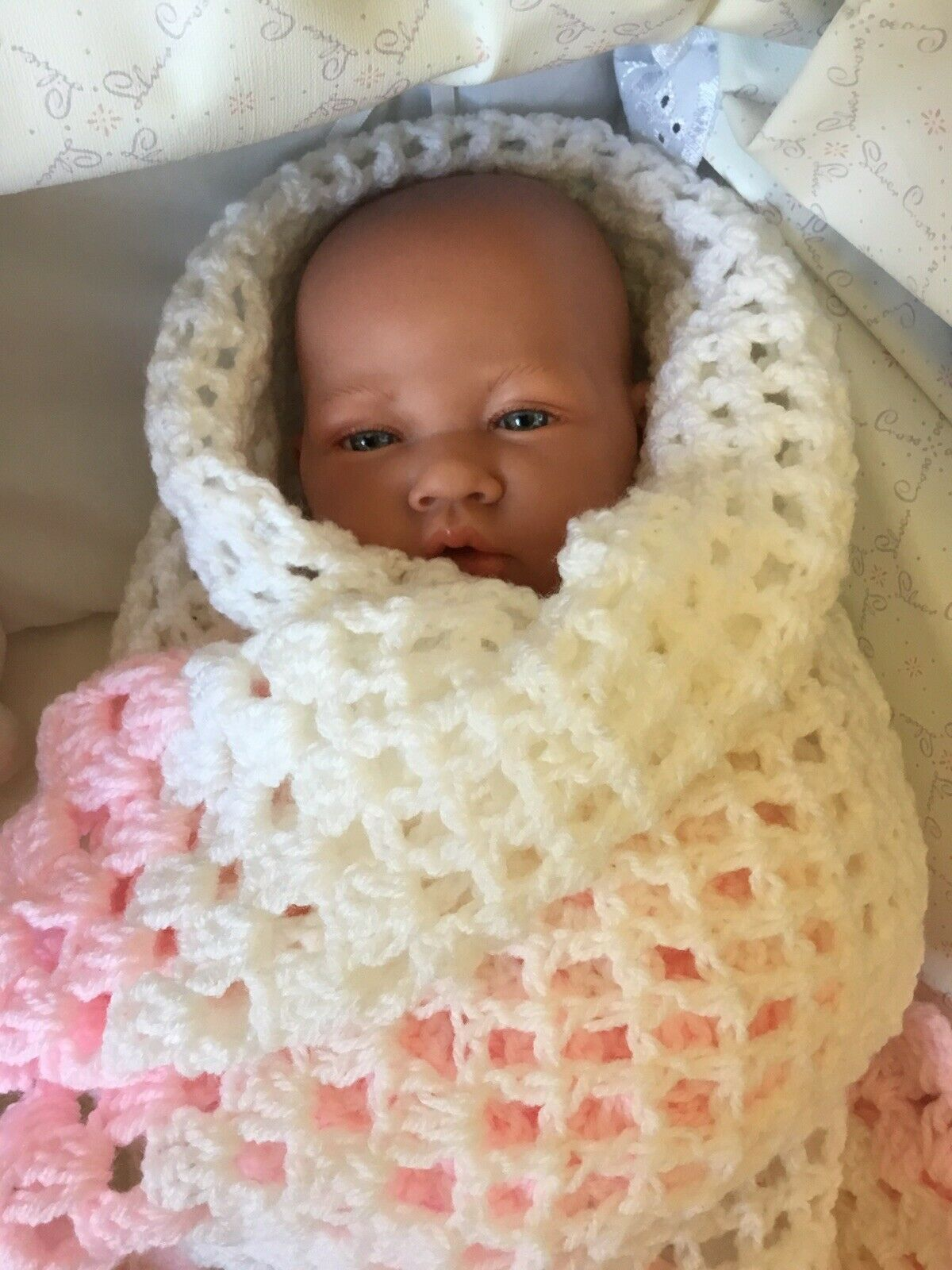 Antonio Juan Baby Doll With Soft Body In Pink 4 Piece Outfit + Crocheted Shawl