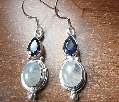 Faceted Iolite and Moonstone Teardrop 925 Sterling Silver Necklace