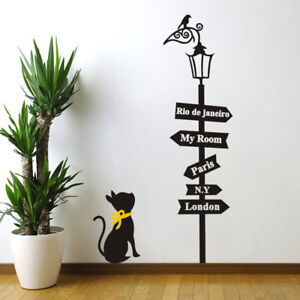 Black-Cat-Road-Signs-Room-Home-Decor-Removable-Wall-Stickers-Decals-Decoration