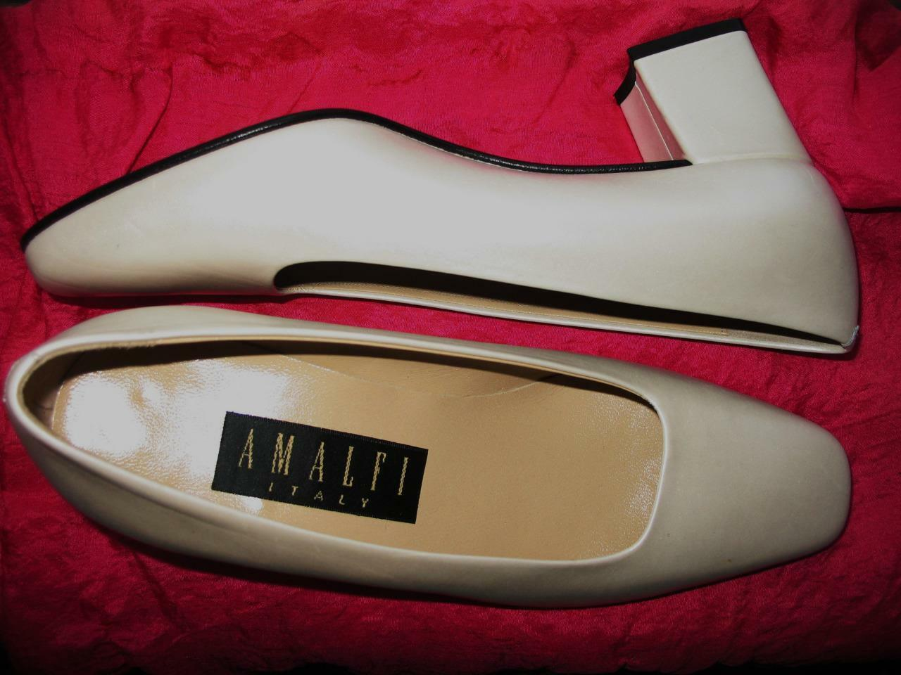 AMALFI Schuhe BEIGE PEARL LEATHER LOAFERS   SIZE 6B/36,5  MADE IN ITALY