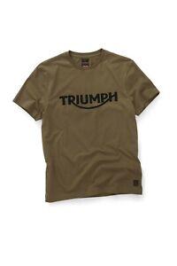 Veritable-Triumph-Motos-Bamburgh-Moderne-Premium-Tisse-Logo-T-Shirt-Kaki
